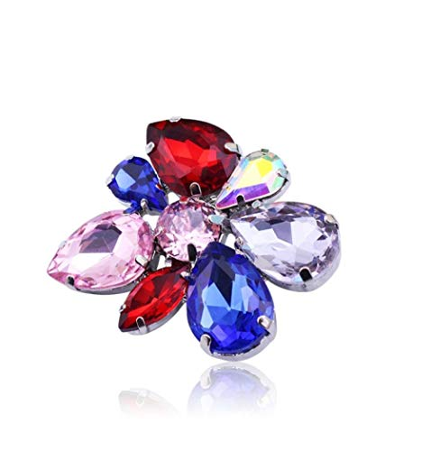 Nonebranded Crystal Brooch For Women Red Pink Blue Crystal Brooches Female Wedding Dress Ornaments