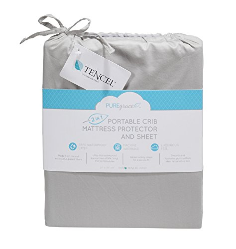 PUREgrace Playard Mattress Sheet and Protector in one - Made with All Natural Hypoallergenic Tencel, Waterproof Cover Protects and Fits Pack N Play, Mini Portable Crib Mattresses, or Co-Sleepers