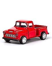 YIPUTONG Jul röd lastbil, röd metall vintage bil ornament drar lastbil bilmodell leksak bordsskiva ornament, barn