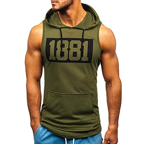 Sweat Musculation Capuche Sweat Shirt Homme Pull A Capuche sans Manche Homme Tee Shirt Capuche Homme Fitness Debardeur Capuche Homme Musculation Pullover Homme Pull Homme S-3XL Noir Vert Blanc