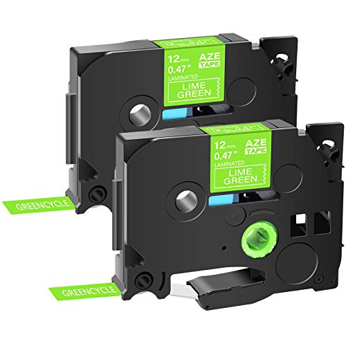 """GREENCYCLE Compatible for Brother P Touch TZe-MQG35 TZe MQG35 AZEMQG35 1/2"""" 12mm 0.47 inch Laminated White on Lime Green TZ TZe Label Tapes Used in PTH110 PT-D200 PT-D210 PTD600 D400, 2 Pack"""