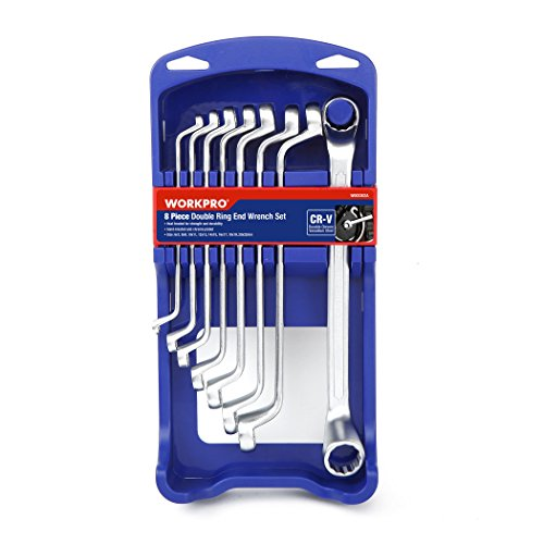 WORKPRO Offset Box End Wrench Set, 8-piece, Metric 6-22 mm, Cr-V, German DIN Standard with ABS Organizer Rack