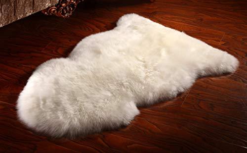 Barnscroft of Devon | Sheepskin Rug | Genuine | New Zealand Ivory White Wool | Large 100 x 63 cm