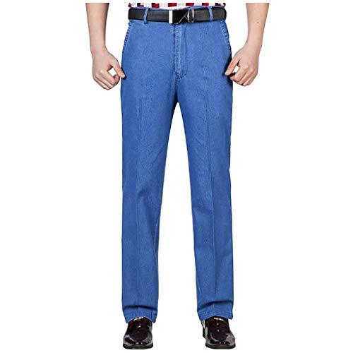 URIBAKY - Pantalón de deporte para hombre, estilo chino ajustado, a rayas informales azul claro 32