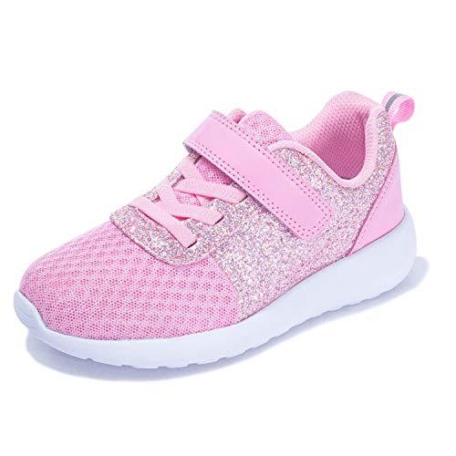 Mädchen Schuhe Kinder Turnschuhe Glitzer Sportschuhe Laufschuhe Hallenschuhe Sneakers Klettverschluss Tennisschuhe Festliche für Jugendliche,23 EU,Pink