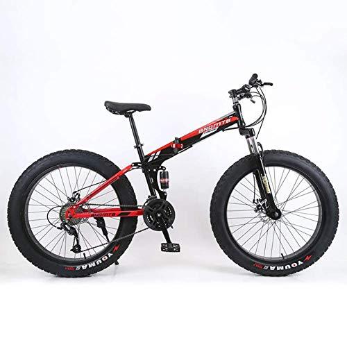 LIYONG 4.0 Verbreiterte Mountain Bike mit großen Reifen, faltbar, Strand Schneemobile, Dual-Shock Dual-Scheibenbremsen, Weich-Endstück, 26-Zoll-7/21/24/27/30 Drehzahl, 1,7 Geschwindigkeit HLSJ