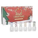 Esmalte de uñas de gel, 6 colores Juego esmalte uñas en gel Nail Art UV Esmalte manicura en gel para bricolaje Manicura en casa Juego de regalo para novias Kit de esmalte uñas en gel