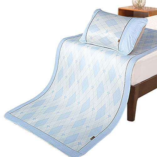 CPPI-1 Ice Silk Mat Bedding Washable Folding, Air Conditioning Soft Jade Silk Mat, Fashion Cool Student Single Double Bedroom with Pillowcase Spring Summer