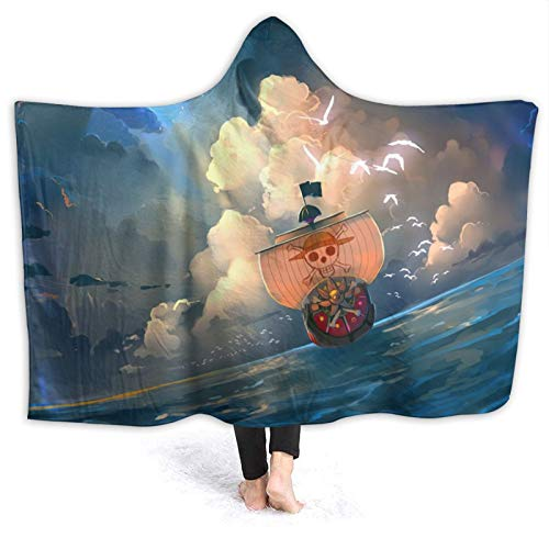 Popular Anime One Piece Luffy Caravel Hooded Flannel Throw Blanket Wearable Sherpa Super Soft Warm Oversized Hooded Cloak Anti-Pilling Kids Adult Home Decor All Seasons Bedroom Sofa Picnic 60'X50'