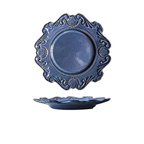 Nórdico Retro en relieve patrón ensalada desayuno plato vajilla cerámica vajilla platos arroz tazón sopa fideos postre plato decorativo tazón