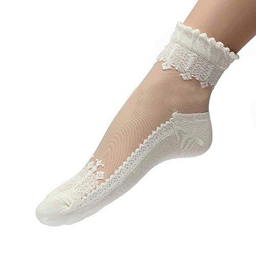 iMixCity Sommer Damen Jahrgang Ultradünne Transparent Schöne Crystal Lace Elastische Kurze Socken