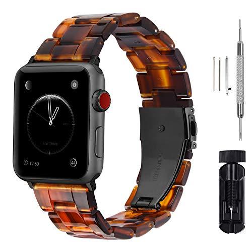 Fullmosa Für Apple Watch Armband 42mm, Harzig Ersatzband für iWatch/Apple Watch Serie 5/4/3/2/1, 42mm Dunkel-Bernstein