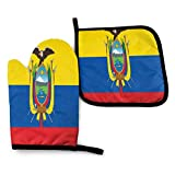 Alysai Flag of Ecuador Oven Mitts Set Heat Resistant Pot Holders Durable Thick Kitchen Gloves Funny Potholders with Cotton Lining for Kitchen Microwave Cooking Baking Barbecue BBQ