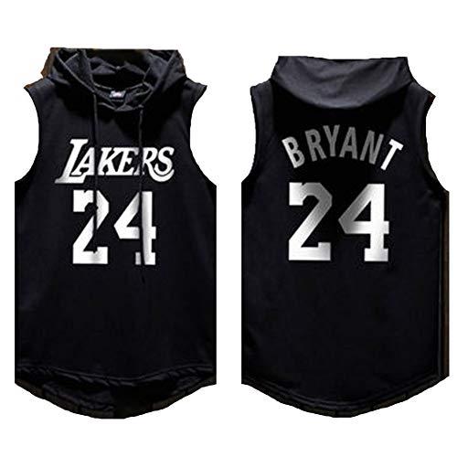 Männer Basketball Hoodie Trikot Los Angeles Lakers # 24 Kobe Bryant, ärmelloses Pullover-Basketball-T-Shirt mit Kapuze, Outdoor-Sportbekleidung für Fans-black-XL(185CM/80KG)