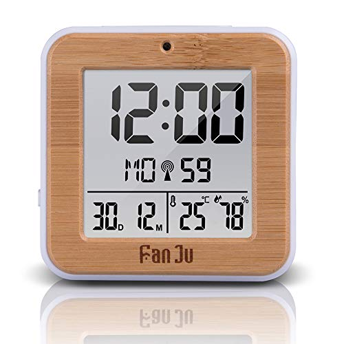 ShangSky Funkwecker DCF Digital Wecker Thermometer Hygrometer mit Snooze LCD Display 2 Tägliche Alarme Funktion Wecker Digital Funkuhr für Schlafzimmer Wohnzimmer Arbeitszimmer