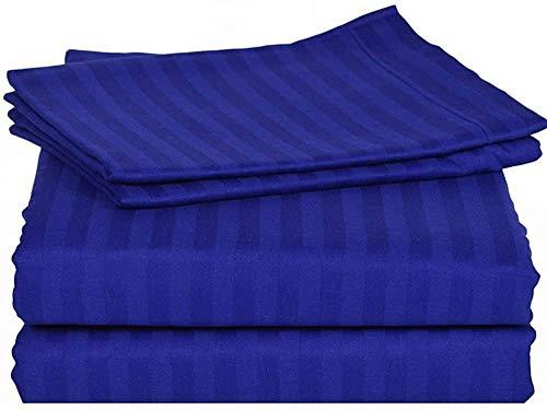 300 Hilos 4 Piezas Juego de sábanas (Egipcio Azul Rayas, Reino Unido King Size150 X 200 cm (5 ft x 6 ft 6 in ), tamaño de Bolsillo 44 cm) 100% algodón Egipcio Premium Calidad