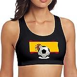 NCJWMWU Balón de fútbol con la Bandera de España Sujetador Deportivo con Espalda Cruzada para Mujer