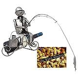BRUBAKER Weinflaschenhalter Angler - Deko-Objekt Metall - Flaschenständer mit Grußkarte für Weingeschenk