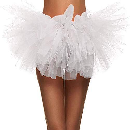 Ruiuzi Tutu Falda de Mujer Falda de Tul 50's Short Ballet 5 Capas Accesorios de Vestimenta de Baile Niñas para Vestirse Disfraces Danza (Mini Blanco)