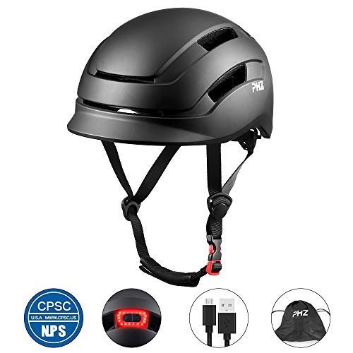 PHZ. Adult Bike Helmet, Cycling Helmet CPSC and CE Certified with Rear Light for Urban Commuter Adjustable Size for Adult Men/Women (Black, Medium)