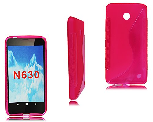 New Schwarz Pink S Line Gel Schutzhülle Case Cover für Nokia Lumia 630+ Displayschutzfolie