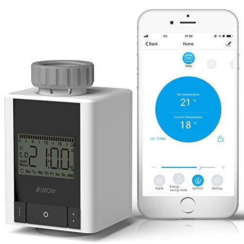 AWOW Smart Home thermostat heizung,Inklusive Bluetooth Heizkörperthermostat,keine Bridge erforderlich,für alle gängigen Heizkörperventile,APP-Fernbedienung