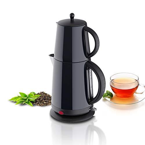Edelstahl Wasserkocher Teekocher - Glänzend-Schwarz - mit Teesieb Abschaltautomatik und Warmhaltefunktion - 2,7 Liter - 1850-2200W