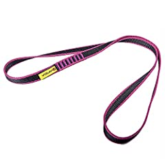16mm Nylon Sling, 22kN, CE EN566 certified, made of tube nylon webbing, sewn in bar-tack for high durability. Activities: Rock Climbing, Mountaineering, Rappelling, Hiking, Emergency Gear, etc. Light weight while rating to high strength 23kN. High re...