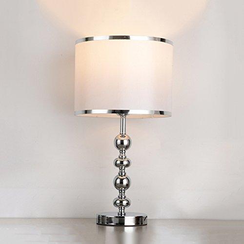 WSHFOR Moderne Nachttischlampe Schreibtischlampe E27 Tischlampe Silber für Hotelzimmer Wohnzimmer Esszimmer Dekoration Tischlampe, Lampenschirm Tuch