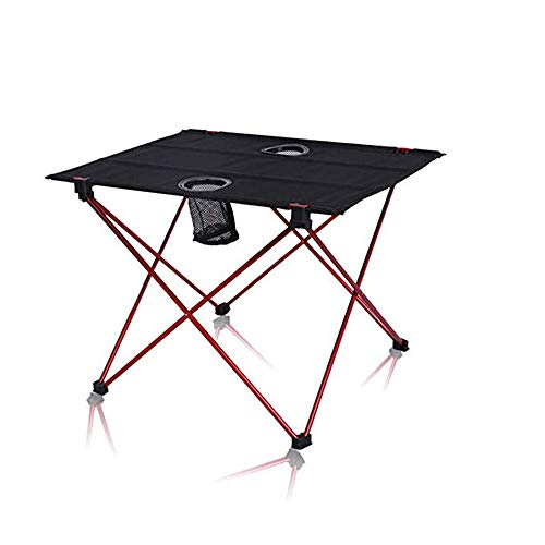APXZC Aluminum Lightweight Table, Outdoor Portable Foldingtables, Easy Carry with Cup Holder Non-Slip Sleeve Design High-Strength Material, for Fishing Picnic Beach