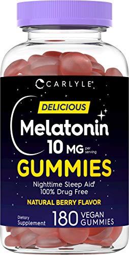 Melatonin Gummies 10mg | 180 Count | Adult Nighttime Sleep Aid | Natural Berry Flavor | Vegan, Non-GMO, Gluten Free | by Carlyle