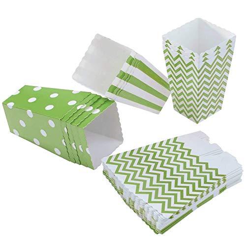 Diealles 36PCS Mini Caja de Fiesta de Palomitas Contenedor de Dulces para Los Bocados del Partido, Los Dulces, Las Palomitas y Los Regalos (Verde)