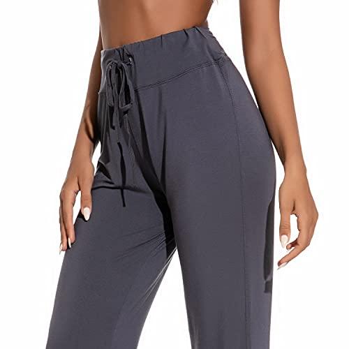 Voqeen Pantalones de Yoga Bootcut Mujer Modal Pantalones Deportivos Alta Cintura Elásticos Leggins Anticeluliticos Control de Barriga Cordón Pantalones de Trabajo (Gris Oscuro, M)