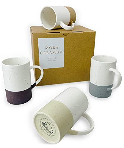 Mora Ceramics 12oz Coffee Mug Set of 4 - Ceramic Tea Cups with Handle - Microwave and Dishwasher Safe, Perfect For Cup or Mug Lovers - Rustic Matte Glaze, Modern Design Mugs - Assorted Colors