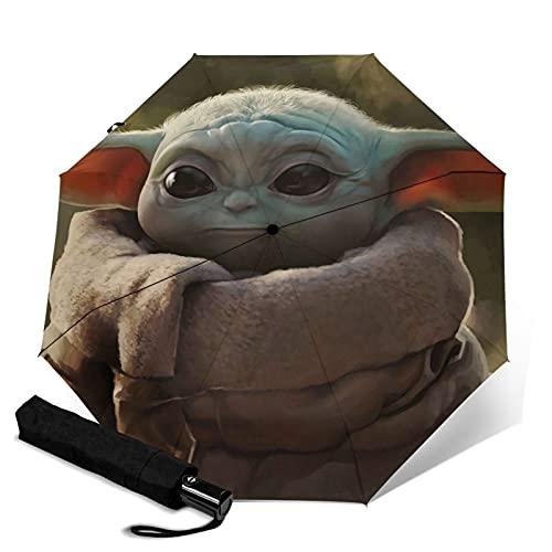 Star Wars Master Yoda Mandalorian Paraguas automático de tres plegables, paraguas plegable...