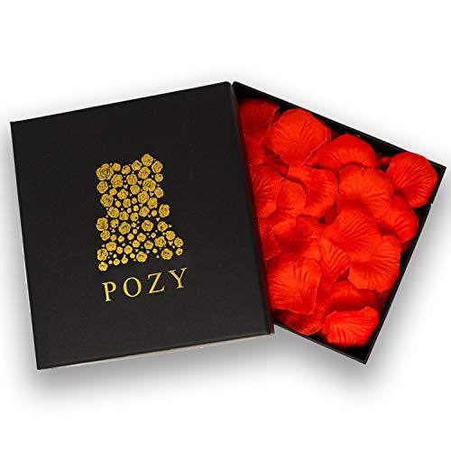 POZY Rosenblätter mit edler Aufbewahrungsbox [3.000 Stück] romantische Dekoration zur Hochzeit & Schlafzimmer - wunderschöne Rosenblüten als Jahrestag Geschenk für ihn - hochwertige Seidenblumen