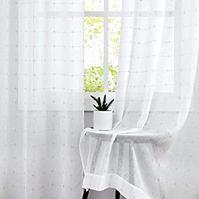 Central Park White Semi Sheer Curtain Gray GEO Cross Embroidery Panels Linen Texture Rod Pocket Window Treatment Drape Sets for Living and Bedroom Farmhouse 108 inches Long, 2 Panels, White