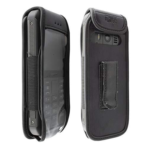 caseroxx Hülle Ledertasche mit Gürtelclip für Nokia 800 Tough aus Echtleder, Tasche mit Gürtelclip & Sichtfenster in schwarz
