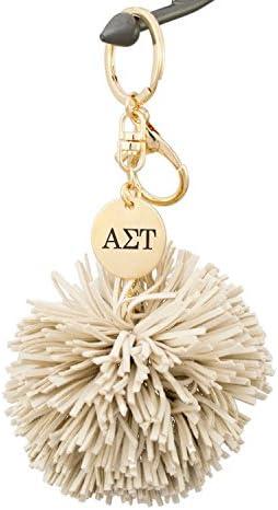 A List Greek Alpha SIgma Tau AST Keychain Gift Sorority Key Chain with Beige Pom Tassel Laser product image