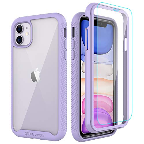 CellEver Compatible with iPhone 11 Case, Clear Full Body Heavy Duty Protective Case Anti-Slip Full Body Transparent Cover Designed for iPhone 11 (2X Glass Screen Protector Included) - Light Purple