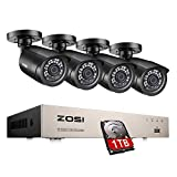ZOSI 1080P Kit de Cámaras Seguridad Vigilancia 8CH H.265+ Videograbador DVR + (4) Cámaras Bullet Exterior + 1TB Disco Duro, 20M Visión Nocturna, Detección de Movimiento, P2P
