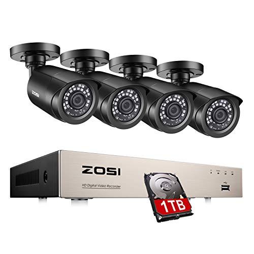 ZOSI 8CH 4in1 1080N DVR Recorder mit 4 Outdoor 1080p Außen Video Überwachungskamera System Überwachungsset, 20M IR Nachtsicht, 1TB Festplatte