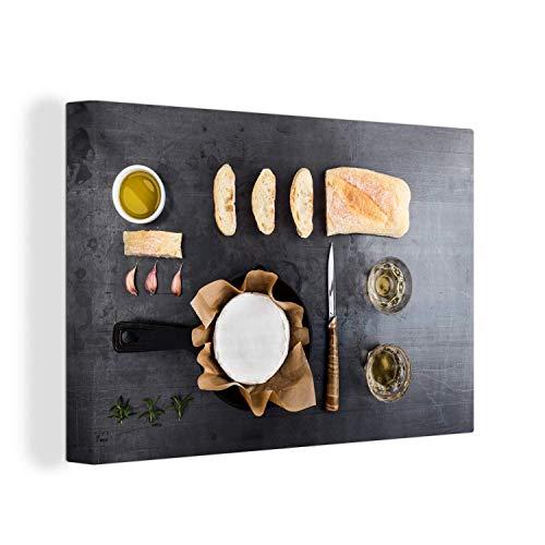 Canvas Schilderijen - Knolling - verzameling van etenswaren met camembert en brood - 150x100 cm - Wanddecoratie - canvas met 2cm dik frame
