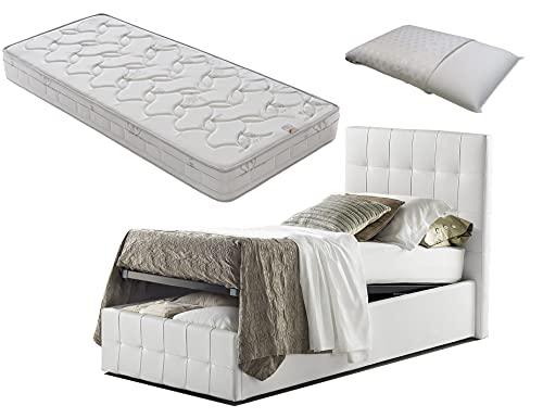 Letto SINGOLO con box contenitore bianco Pratic + materasso misura 80x190 cm memory foam+ guanciali inmemory saponetta omaggio
