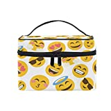 Bolsa de maquillaje, diseño de emoticonos sonríe portátil de viaje con estampado grande, bolsa de cosméticos, compartimentos para niñas y mujeres