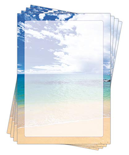 Motivpapier Briefpapier (Meer Strand-5186, DIN A4, 25 Blatt) schöner Sandstrand blaues Meer und Himmel mit Wolken