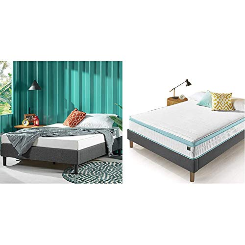 ZINUS Curtis Upholstered Platform Bed Frame with Zinus 10 Inch Mint Green Memory Foam Hybrid Spring Mattress, Full