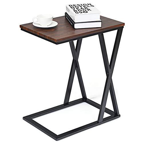 COSTWAY Beistelltisch Metall, Sofatisch 50x34,5x60cm, Kaffeetisch Industrie-Design, Laptoptisch für Innen- und Außenbereich, Betttisch X-förmig