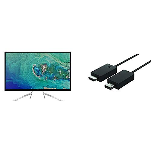Acer 31.5 inch UHD Monitor - (VA Panel, Adaptive Sync, 60Hz, 4ms, ZeroFrame, DP, HDMI, USB Hub- Black), and Microsoft Wireless Display V2 Adapter - Black