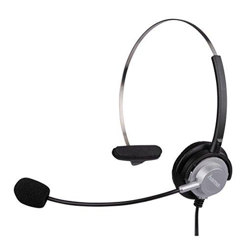 Hama Kopfbügel-Headset mit 2,5-mm-Klinkenstecker (einseitiger Kopfhörer mit Mikro, Headphone mit Ohrbügel) schwarz